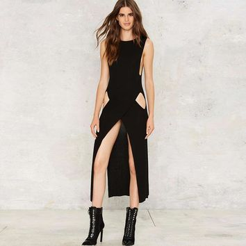 Fashion sexy slim hollow out sleeveless O-neck  woman's Casual long slits dress