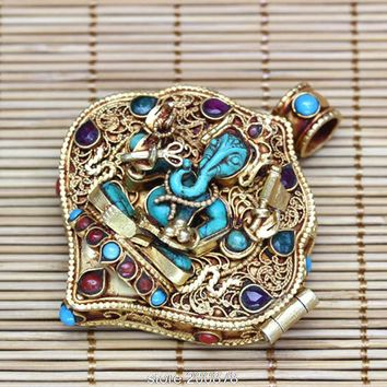 T9180 Amazing Fine Tibetan Stone Ganesh Amulet Prayer Box Nepal hand 925 Sterling Silver Golden Pendants