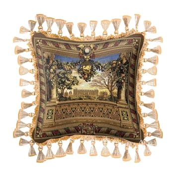 Fine Art Tapestries Home Decorative Le Chateau de Monceau Cotton Pillow