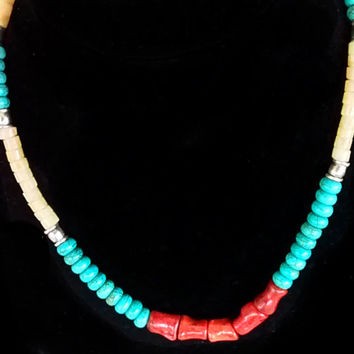 Coral Gem Necklace Calcite and Howlite Gems - New Custom Handmade Heishi Necklace - Tribal Necklace - Unisex Heishi Jewelry