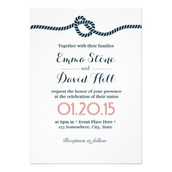 Classy Tying the Knot Wedding Invitations