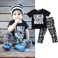 2pcs Fashion Outfits Set Summer Baby Boys Toddler Tracksuit