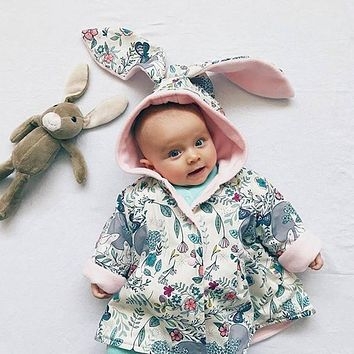 Baby Girls Jacket Coat Rabbit Ear Hoodie Coat for 6M-24M little Girls Botanical Garden Printed Outerwear Clothes