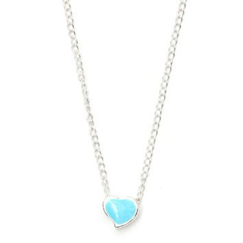 Tiny Heart Necklace Blue Sweetheart Little Love Romance NB39 Silver Dainty Pendant Fashion Jewelry