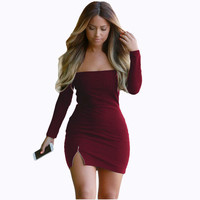 Fashion Pure Color Off Shoulder Bodycon Short Dress Gift