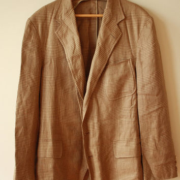 Ralph Lauren Polo Tan Patchwork Houndstooth Guaranteed to Wrinkle Sportcoat Mens