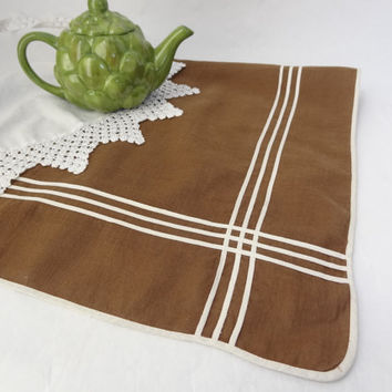 Table topper square tablecloth vintage brown linen fabric material