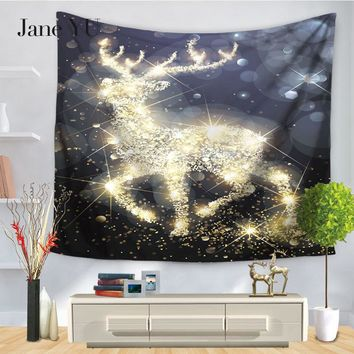 JaneYU New Arrival 100% Polyester Printed Jacquard Woven Cartoon Aubusson Tapestry For Chirstmas