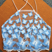 Blue Butterfly Pattern High Neck Crop Top