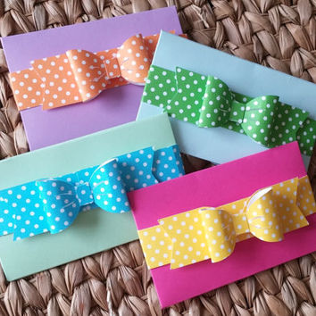 Easter Gift Card Holders - Spring Money Envelopes - Bow Gift Ideas - Girl Money Card - Easter Basket Gifts - Money Sleeve - Pack of FOUR