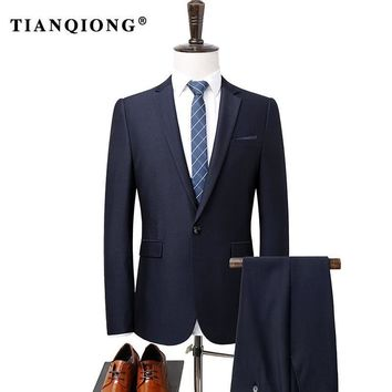 TIAN QIONG Men Single Breasted Suits 2 Pieces Suit