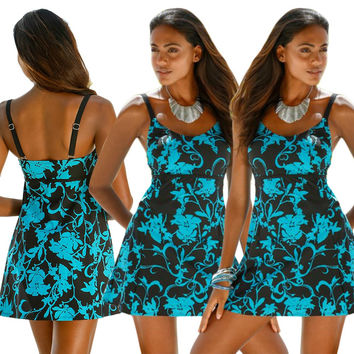 Blue Floral Print Straps Swim Dress