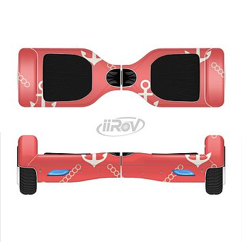 The Coral & White Vintage Solid Color Anchor Linked Full-Body Skin Set for the Smart Drifting SuperCharged iiRov HoverBoard