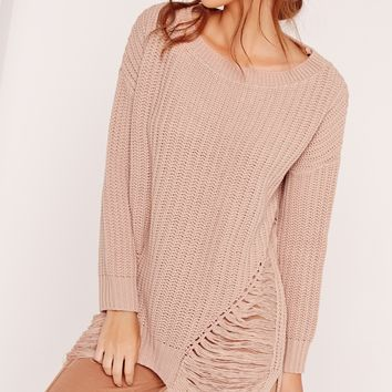 Missguided - Distressed Off Shoulder Jumper Pink