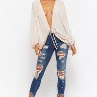 Self-Tie Batwing Top