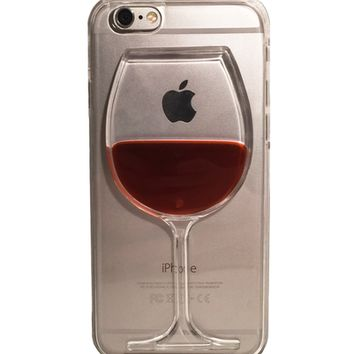 """Red Wine Glass Transparent Phone Hard Case For iPhone 4 4s 5c 5 5s Se 6 6s 6sPlus """" FREE SHIPPING """""""