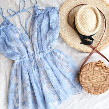I want it all Open Shoulder Embroidery Mesh Romper in Beau Blue