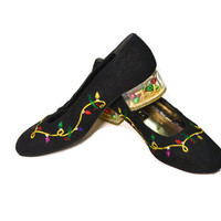 Vintage Christmas Shoes Ugly Christmas Shoes Tacky Christmas Shoes Black Flat Shoes Black Suede Shoes