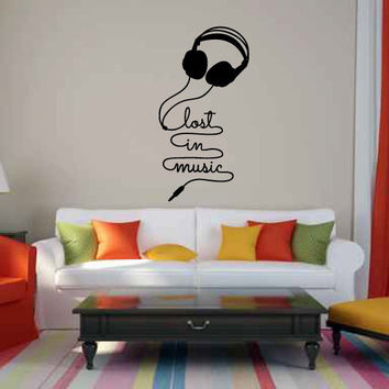 Lost in the Music with Headphones Vinyl Wall Words Decal Sticker Graphic