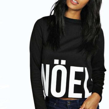 Black Letter Print Long Sleeve Sweater Shirt