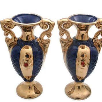 Italy Porcelain Cobalt and Gold Urns Pair and Mantlepiece Bowl Display, Italian Gold Gilded, Three Piece Mantle Set