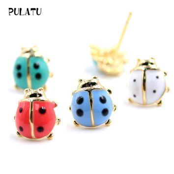 10 color Cute ladybug Earrings For Girl Lovely Candy colors small Stud Earrings Hypoallergenic 2017 Fashion women jewely E0214