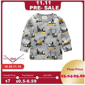 Jumping meters Boys Tshirt Baby Boy Clothes Forklift Pattern Children T shirts Toddler Boy Long Sleeve Tops 2018 Brand boy shirt