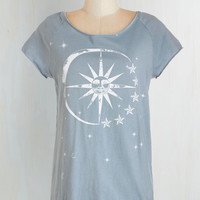 Cosmic Mid-length Short Sleeves Smitten Under The Stars Tee by ModCloth