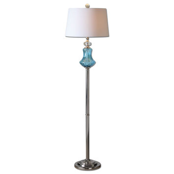 Uttermost Cartama Blue Glass Floor Lamp - 28254