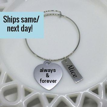Always & Forever, Always Bangle, Engraved Heart Bracelet, Heart Charm Bracelet, Engraved Bracelet, Gifts Under 20, Graduation Gift