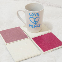 Glam Tile Coasters  in Pink and White No Shed Glitter Theme with Foamed Backs (4)