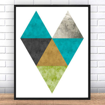 Geometric Print, Triangle Print, Printable Abstract Art, Scandinavian Art, Boho Art, Graphic Print, Abstract Wall Art, INSTANT DOWNLOAD ART