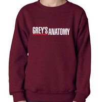 Grey's anatomy printed on Black, NAVY or maroon Crew neck Sweatshirt