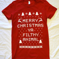"RED Ladies AMERICAN APPAREL  ""Ugly Christmas Sweater""  T shirt:  ""Merry Christmas ya Filthy Animal"""
