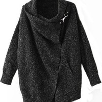 Women Casual Lapel Ouch Cardigan Sweater Coat Jacket, Black