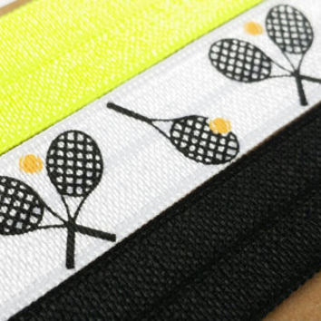Tennis hair ties, black and neon yellow, set of 3 foldover elastic ponytail holders, tennis racquet, tennis player gift, coach gift, doubles
