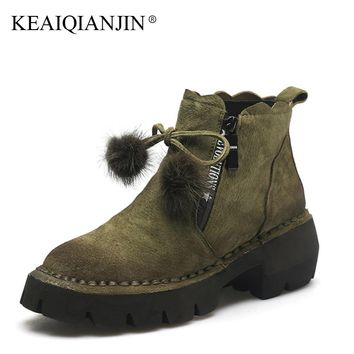 KEAIQIANJIN Women Gothic Shoes Sexy High Qulaity Platform Genuine Leather Shoes Woman High Heels Flat Platform Butterfly Boots