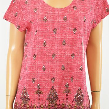Style&Co Women's Cotton Pink Printed T-Shirt Blouse Top X-Large XL