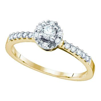 10kt Yellow Gold Women's Round Diamond Solitaire Halo Bridal Wedding Engagement Ring 1/4 Cttw - FREE Shipping (USA/CAN)