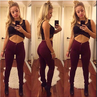 Red Wine Elastic Waist Stretchy Body-con Pants