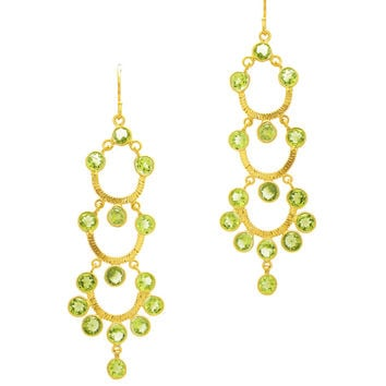 Pastel Mint Peridot Chandelier Earrings in Gold Vermeil