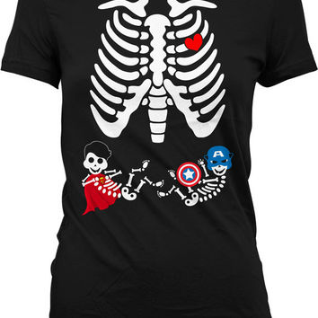 Pregnant Skeleton Shirt Twin Halloween Pregnancy Costume Skeleton Pregnancy Shirt Maternity Skeleton T Shirt Boy Superhero Ladies MD-550