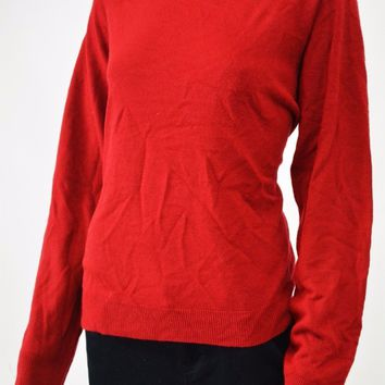 Karen Scott Women's Mock-Neck Red Rib Trim Knit Sweater Top XL