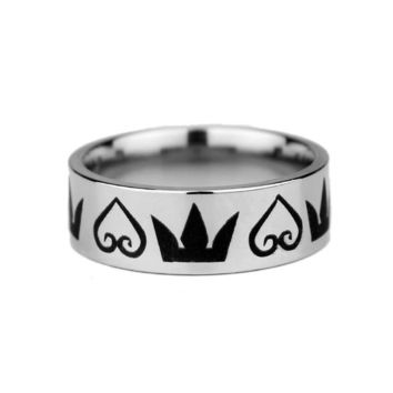 Kingdom Hearts & Crowns ring good quality Stainless Steel ring Fashion Jewelry Comfort Fit Tungsten Wedding Ring
