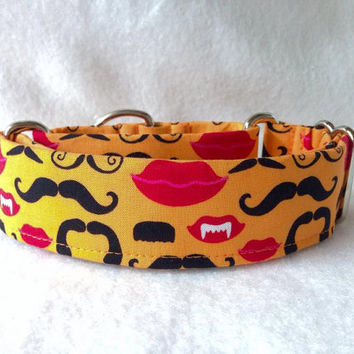 "Mustache Lips Martingale or Quick Release Collar 1"" Martingale Collar, 1.5"" Martingale Collar 2"""
