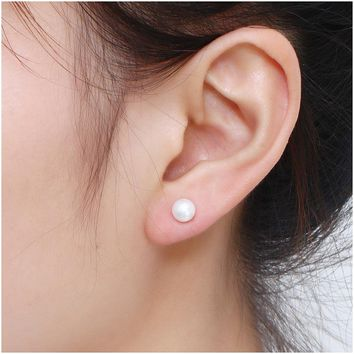 Classic 925 Sterling Silver 6mm Natural Freshwater Pearl Stud Earrings For Women and Girls.    ***FREE SHIPPING***