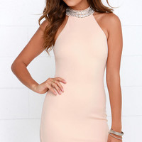 Living in Luxury Beaded Blush Halter Dress
