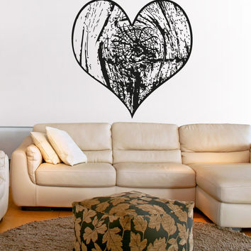 Vinyl Wall Decal Sticker Wooden Heart #OS_AA1590
