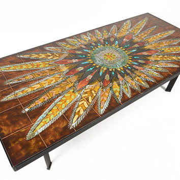 Danish Mid Century Modern Tile and Steel Peacock Coffee Table by Knud Michel