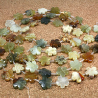 Multicolored Jade Flower Beads - Carved Flower Beads, 15 inch strand